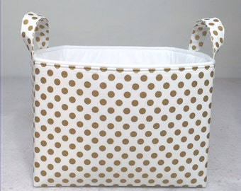 "Metallic Gold Fabric Storage Bin 10""x10""x7"" Basket, Antique Gold Small Polka Dot on White with White Lining"