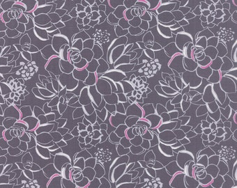 SALE - Gray and Magenta Floral Fabric - Canyon by Kate Spain from Moda 1 Yard