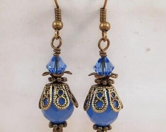 Blue Vintage Style Earrings, Drop earrings, Victorian Style Dangle  Pierced or Clip-on Earrings. OOAK Handmade Earrings.