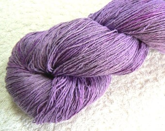 Lilac Lush, Limited Edition Wild Silk Lace weight yarn, hand dyed / painted