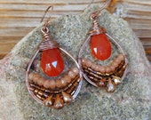 Tangelo. Artisan Copper Earrings with Wire Wrapped Orange Carnelian, Peach Moonstone, and Copper Pyrite Gemstones-Boho Gypsy Statement Gold