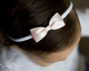Light Pink and White Baby Headband - Flower Girl Headband - Small Satin Light Pink Bow Handmade Headband - Baby to Adult Headband