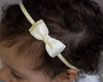 Cream Olivia Baby Bow Headband - Cream Flower Girl Headband - Cream Olivia Satin Bow Handmade Headband - Baby to Adult Headband