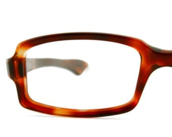 Vintage Women Dark Amber Rectangle Eyeglass Optique Magnifique Frames Eyewear