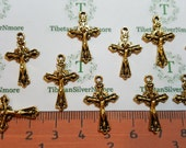 15 or 30 pcs per pack 23x14mm tiny Crucifix Charm Antique Gold Finish Lead Free Pewter