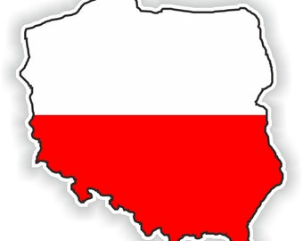 Poland Map Flag Silhouette Sticker for Laptop Book Fridge Guitar Motorcycle Helmet ToolBox Door PC Boat