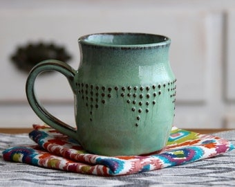 Stoneware Mug - Ceramic Coffee Cup in Aqua Mist - Geometric Design - READY TO SHIP