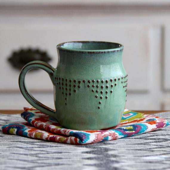 Stoneware Mug - Ceramic Coffee Cup in Aqua Mist - Geometric Design - MADE TO ORDER