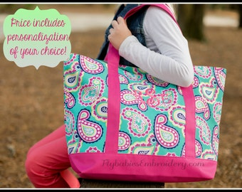 Personalized Tote Bag ~ Girls Monogrammed Travel Bag ~ Quick shipping!