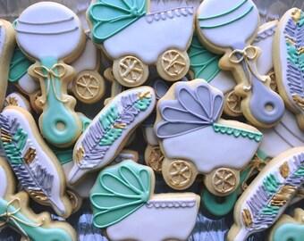 2 dozen Feather Baby Shower Cookies