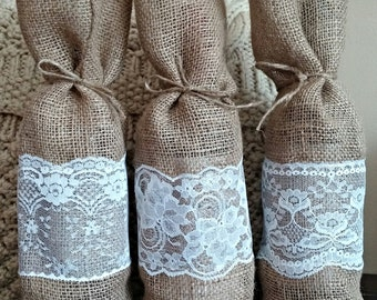 Burlap and Lace Champagne bags