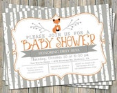 Birch tree fox baby shower invitation, typography baby shower invitation, orange and gray, digital, printable file