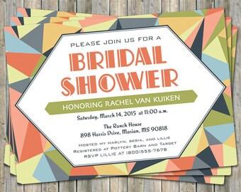 Modern Bridal shower, Geo Multi color printable, digital file