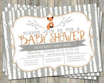 Birch tree fox baby shower invitation, typography baby shower invitation, orange and gray, digital, printable file