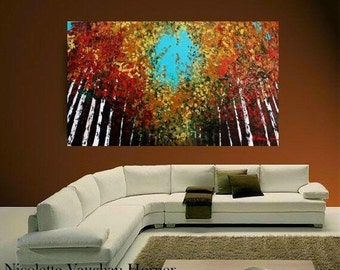 "Oil Landscape  Abstract Original Modern 48"" palette knife Birch Trees  impasto oil painting by Nicolette Vaughan Horner"