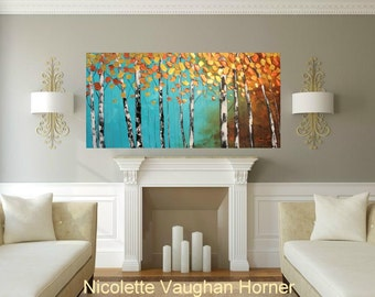 "Birch Trees Oil Landscape painting Abstract Original Modern 48"" palette knife oil  impasto oil painting by Nicolette Vaughan Horner"