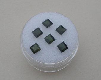 6 Dark Green Tourmaline Square Gems 4mm each