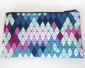 Zippered Coin Purse with Geometric Triangle Print and Card Slot