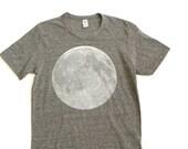 MOON t-shirt heather GREY size xs - 2xl full moon hand printed silkscreen shirt