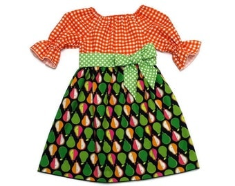 Girls Fall Dress Back To School Pears Green Polka Dot Orange Gingham Peasant Size 6-12 month, 18 month, 2 / 3, 4 / 5, 6 / 7, 8 / 9