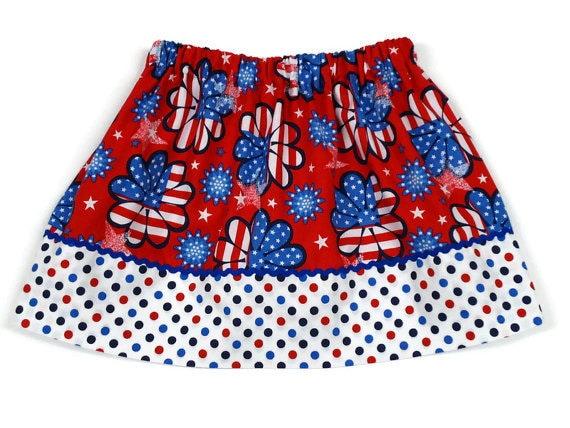 4th of July Girls Skirt Flower Power Polka Dot - Size 2 / 3, 4 / 5, 6 / 7, 8 / 9