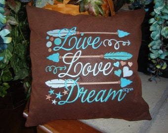 Arrow Brown Throw Pillow Cover Leather Look Brown Machine Embroidery Teal Live Love Dream 14 By 14 Size
