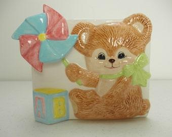 Musical Baby Planter Teddy Bear ABC Blocks Pin Wheel Mom to Be Baby Shower Gift Nursery Decor Storage Vintage Vase Pastels Music Box