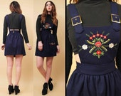 60s Vtg Navy WOOL Embroidered Overalls Suspender Mod Mini Dress / Bib DOLLY Buckle Strap Boho Hippie Scandinavian / Xs