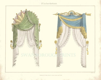 Curtain Dressing Window Print. Window Drapes Bedroom Prints Interior Furnishings Wall Décor. Home and Living Powder Room Wall Print