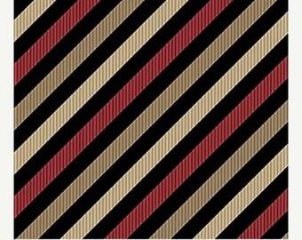 on SALE thru 8/1 JOEL'S Ties  Northcott cotton quilt fabric by the half yard tan red bias stripes on black 20675-24