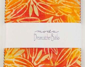 "Moda Charm pack DREAMCATCHER BATIKS 40 5"" squares cotton fabric- hand dyed"