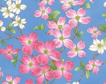 DOGWOOD TRAIL II pink white blossoms on sky blue Moda by the yard cotton quilt fabric Sentimental Studios 33030 18