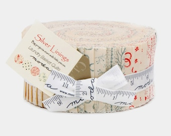 SILVER LININGS Moda Jelly Roll fabric 40 2.5 inch strips  Laundry basket quilts  BACKGROUNDS cream tan
