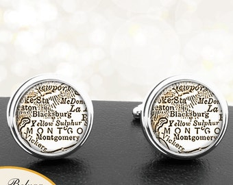 Cufflinks Blacksburg VA Handmade Cufflinks City Maps Virginia Groomsmen Wedding Party Fathers Dads Men