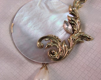 c1980's Vintage Mother of Pearl Coat Pin, Haute Couture Runway Brooch