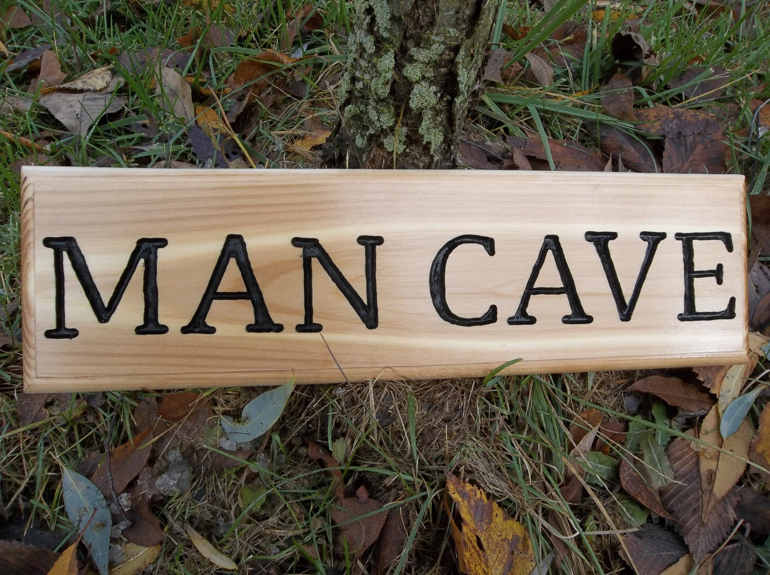 Man Cave Signs Wooden : Man cave sign hand carved wooden by