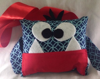 Little Monster Red and Blue Tooth Fairy Pillow with Tooth Fairy Receipts