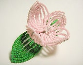 Light Pink Flower Floral Green Leaf Bloom French Beaded Fascinator - Pearl Collection