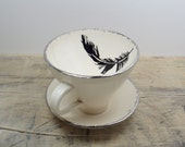 Black Feather Porcelain Tea Cup & Saucer or Mug-White and Silver, Wedding Gift, Birds of a Feather