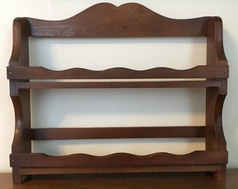 Wood Two Shelf Spice Rack Wall Hanging