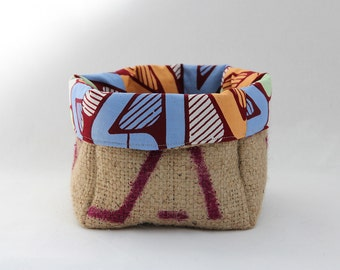 Upcycled Coffee Sack and African Dutch Wax Print Storage Basket Small