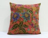 Pink Decorative Floral Batik Pillow Cover, 18x18, Cushion Cover, Pillow Case, Decorative Pillow, Throw Pillow