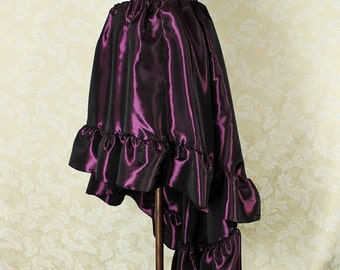 "Steampunk High Low Cecilia Skirt, Longer Length -- Plum Taffeta -- Ready to Ship -- Best Fits Up To 48"" Waist"