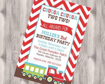 Chevron Choo Choo Train Birthday Invitation - DIGITAL