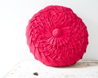 Vintage Red AquaPink Pillow - Bright Red Pattern Pillow Vintage Smocked Pleated Pillow Circle Pillow