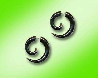 Fake Gauge, Small Spiral, Black Horn, Fake Gauge Earrings, Tribal Earrings, Tribal Earrings Organic, Handmade, Plugs, BOHO, Cheaters - H26