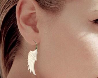 Fake Gauge Earrings, Tribal Earrings, Tribal Brass Style, Bone, Wing, Handmade, Organic, Fake Gauge, Naturally, BOHO, SB2