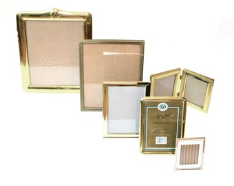 Vintage Brass Picture Frames Gold Picture Frames Stand up Picture Frames Wedding Décor Wedding Picture Frames