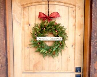 Fall Wreath-READY to SHIP-Autumn Wreath-Fall Door Wreath-Fall Home Decor-Cedar Door Wreath-Thanksgiving Wreath-Outdoor Wreath-Scented Wreath