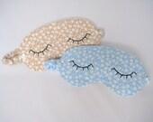 Eye Mask in a Blue or Beige Brushed Cotton, Sleep Eye Mask, Cute Eye Mask